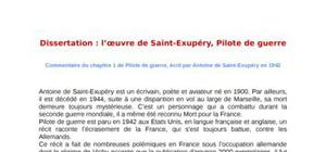 Dissertation : l'oeuvre de saint-exupéry, pilote de guerre