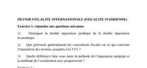 Devoir de fiscalité internationale- fiscalité ivoirienne