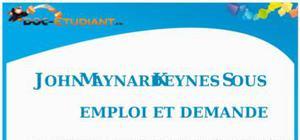 John Maynard Keynes - Sous-emploi et Demande : Cours Terminale ES