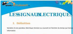 Les signaux électriques : Cours Terminale S
