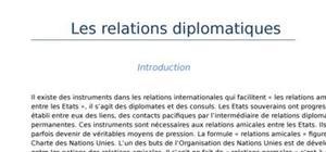 Les relations diplomatiques