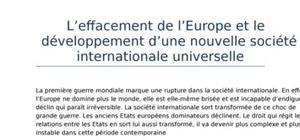 Les relations internationales (partie 4): l'effacement de l'europe et le dévelop-pement d'une nouvelle société internationale universelle