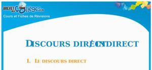 Discours direct et indirect : Fiche de révision Brevet