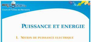 Puissance et énergie électrique : Fiche de révision Brevet