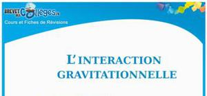L'interaction gravitationnelle : Fiche de révision Brevet