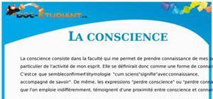 La conscience : Cours Terminale S - ES - L