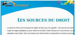 Les Sources du Droit : Cours Droit Première STG