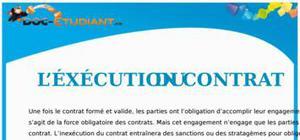L'Execution du Contrat : Cours Droit Première STG