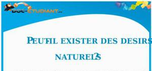 Dissertation : Peut-il exister des désirs naturels ?