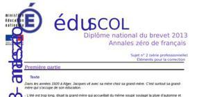 Correction Sujet 0 Brevet Français 2013 : Exemple n° 1 (Professionnelle)
