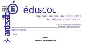 Correction Sujet 0 Brevet Français 2013 : Exemple n° 2 (Professionnelle)