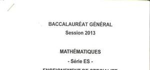Sujet Maths Spécialité Washington 2013 : Bac ES
