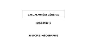 Sujet d'Histoire-Géographie Bac ES 2013