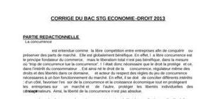 Corrigé Economie-Droit Bac STG 2013