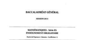 Sujet Maths Obligatoire Bac ES 2013