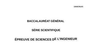 Sujet Sciences de l'Ingénieur Bac S 2013