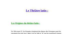 Le theatre -le théâtre latin