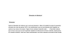 Émeutes et déraison en algérie