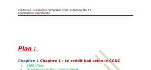 Crédit bail: traitement comptable cgnc et norme ias 17