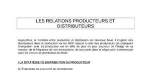 Les relations producteurs et distributeurs