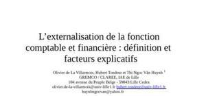 L'externalisation de la fonction comptable et financière : définition et facteurs explicatifs