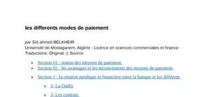 Les differents modes de paiement