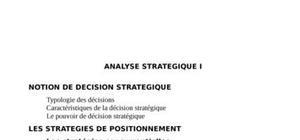 Analyse stratégie et notion de decision strategique