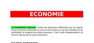 Economie - macro économie et comptes nationaux