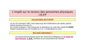 Impôts sur les revenus des personnes physiques  belgique