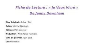 Fiche de lecture - je veux vivre de jenny downham