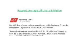 Rapport de stage pharmacie