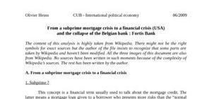 From a subprime mortgage crisis to a financial crisis (usa) and the collapse of the belgian bank : fortis bank