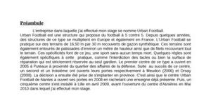 Rapport de stage urban football