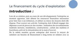 Financement du cycle d'exploitation