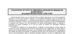 Commentaire du répertoire raisonné et universel de jurisprudence de guyot