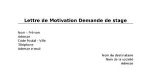 Lettre De Motivation Stage En Cme