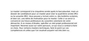 Lettre de motivation master