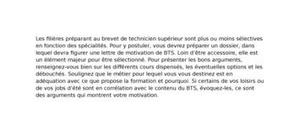 Lettre de motivation bts