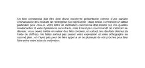 Lettre de motivation commercial