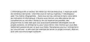 Lettre de motivation informatique