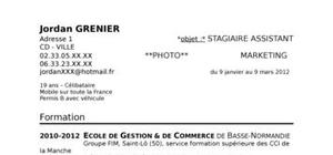 Exemple de cv dans le commerce-marketing