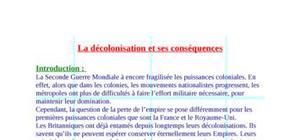 La décolonisation et ses conséquences (cours)