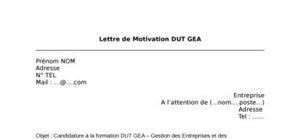 Lettre de Motivation DUT GEA