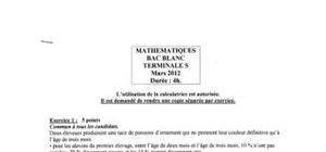Bac Blanc S Maths 2012