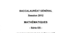 Sujet Bac ES Mathématiques Spé Washington 2012