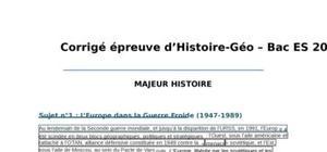 Corrigé Histoire-Géographie : Bac ES 2012