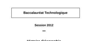 Sujet Histoire-Géographie Bac STG 2012