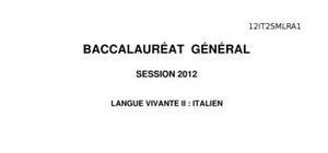 Sujet d'Italien LV2 Bac S 2012