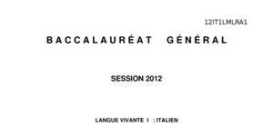 Sujet Italien LV1 Bac L 2012