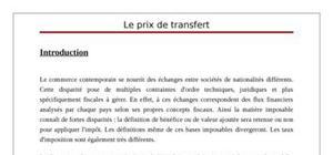 Le prix de transfert